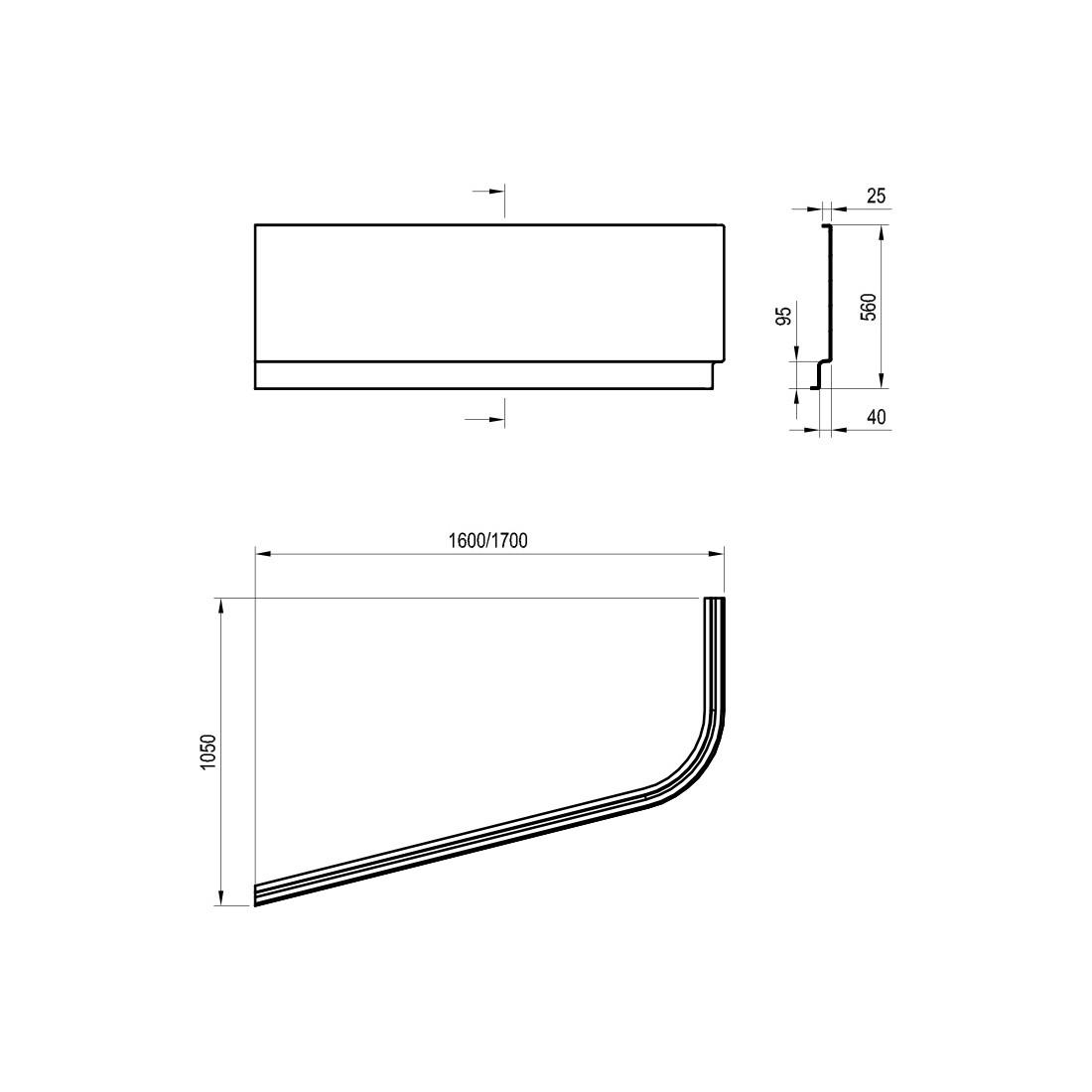 Apdailos plokštė voniai Ravak Chrome, 170x105, dešininė