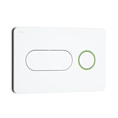 Mygtukas PL8 Dual Flush potinkiniams JIKA mod. PRO, baltas, apvadas žalias.