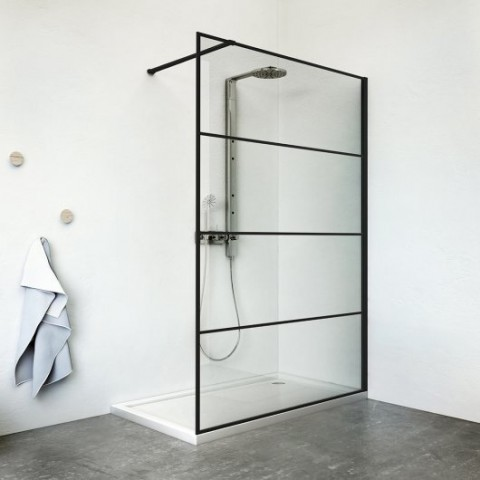 Dušo sienutė Philly Loft Horizon/1200, rėmas juodas matinis, stiklas skaidrus