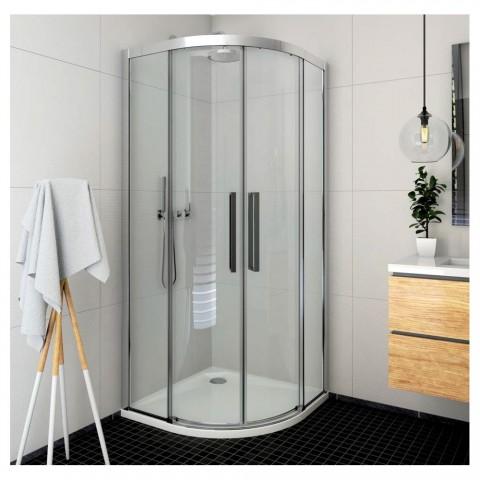 Pusapvalė dušo kabina ECR2N su 2 el. slank. durimis, prof. blizgus, stiklas skaidrus
