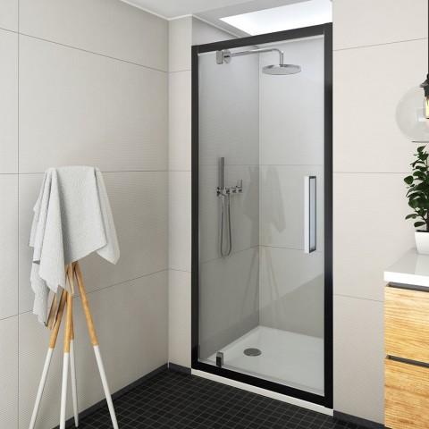 Atveriamos dušo durys ECDO1N/1000, 975-1015x2050 mm, profilis juodas, stiklas transparent