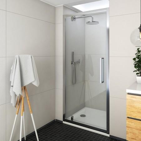 Atveriamos dušo durys ECDO1N, 900mm, skaidrus stiklas, blizgus profilis