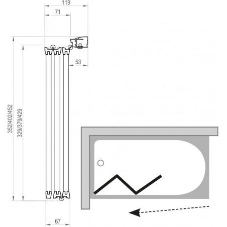 Sulankstoma vonios sienelė Ravak, VS3 115, balta+plastikas Rain