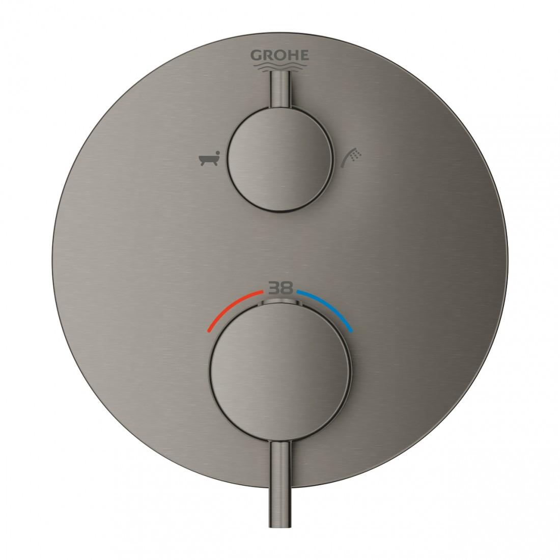 Virštinkinė termostatinė dalis Atrio, brushed hard graphite