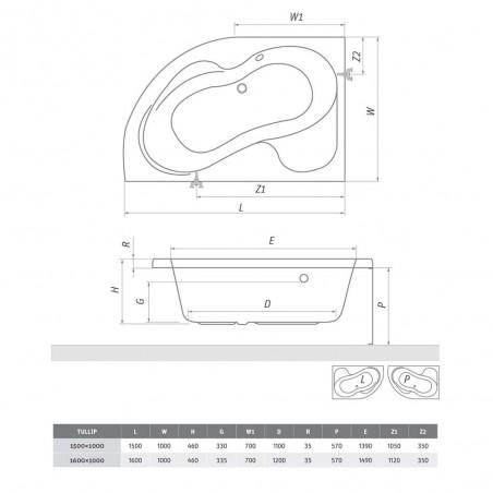 Asimetrinė akrilinė vonia Tullip 1500x1000 mm, kairinė