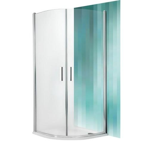 Pusapvalė dušo kabina TR1/1000 varstomomis durimis, matinis profilis, stiklas skaidrus