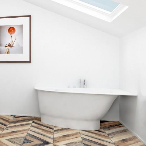 Akmens masės vonia Vispool Trevi, L, kairės pusės, balta