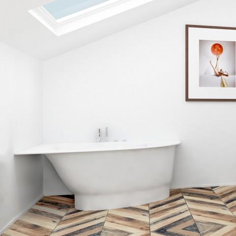 Akmens masės vonia Vispool Trevi, L, dešinės pusės, balta