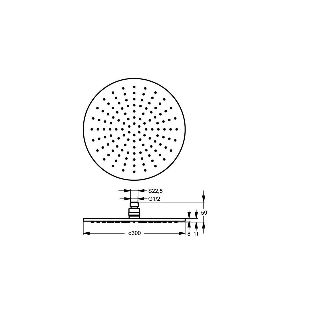 Dušo galva IDEAL STANDARD, IdealRain, stacionari, Ø 300 mm