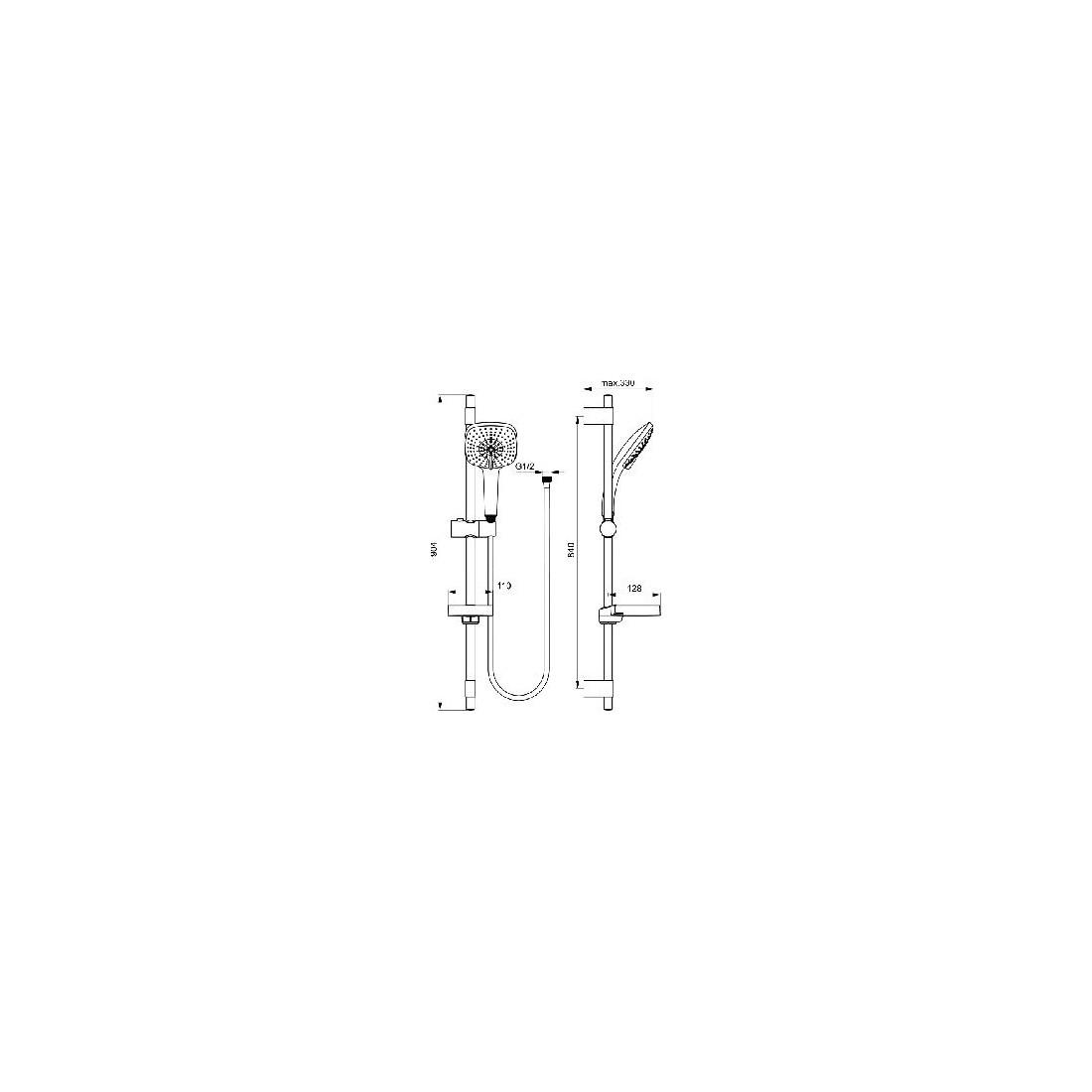 Dušo stovas Ideal Standard IdealRain, Cube XL3, 900 mm, galvutė 130 mm