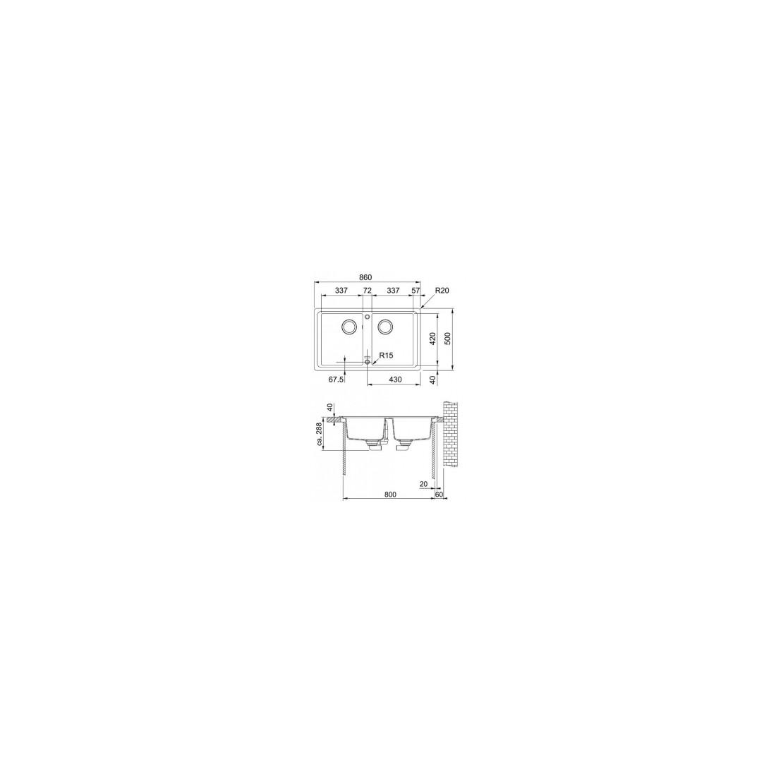 Akmens masės plautuvė Franke  Basis BFG 620, Sachara