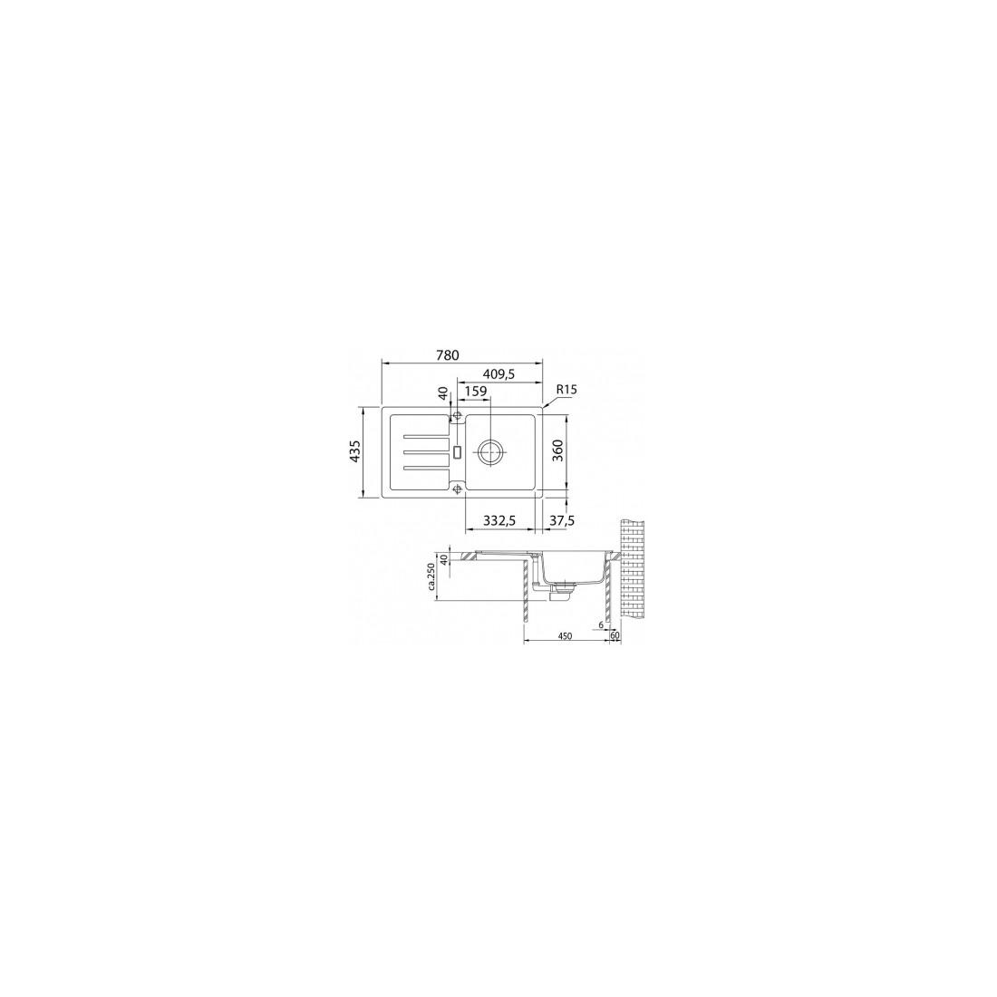 Akmens masės plautuvė Franke Strata, STG 614-78, Graphit, užkemšamas ventilis