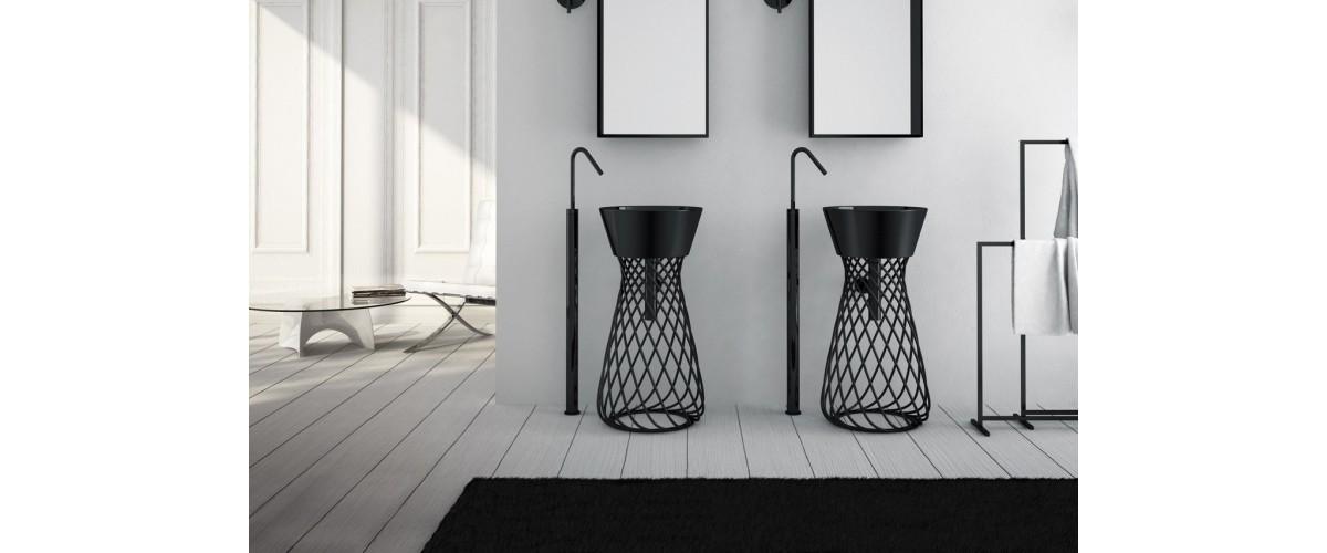 Laisvai pastatomi praustuvai gali buti iš keramikos, akmens masės ir k